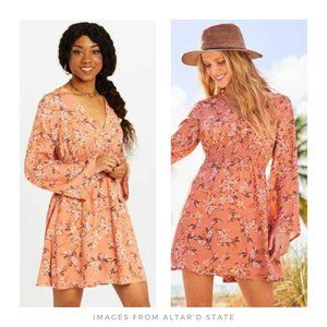Altar'd State ▪ Coral Floral Gardenia Flare Dress
